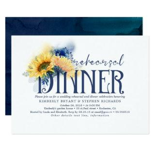 Yellow Sunflowers Navy Blue Fall Rehearsal Dinner Invitations