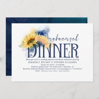 Yellow Sunflowers Navy Blue Fall Rehearsal Dinner Invitation