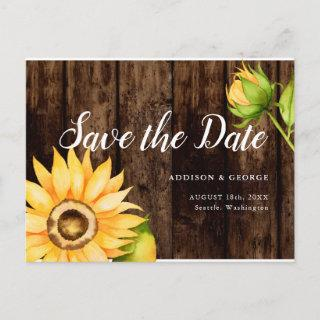 Yellow Watercolor Flower Wedding Save the Date Announcement Postcard