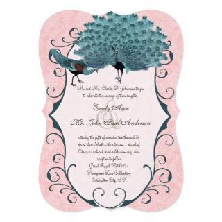 You Choose Background Color -Damask Peacock Invitation