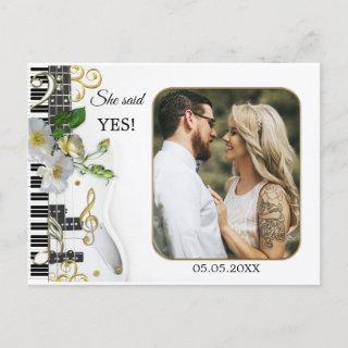 Your Photo Music Themed Save the Date Postcard