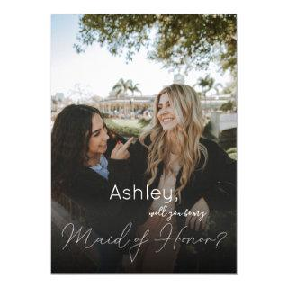 Your Photo Will You Be My Maid of Honor?  White Invitations